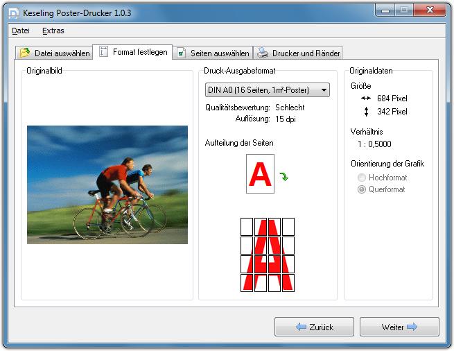 Screenshot vom Programm: Keseling Poster-Drucker